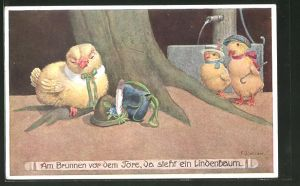 Künstler-AK Franz Jüchtzer: Küken am Brunnen vor dem Tor