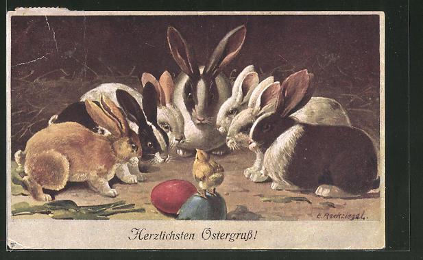 Künstler-AK E. Reckziegel: Hasen stehen um ein Küken auf Ostereiern
