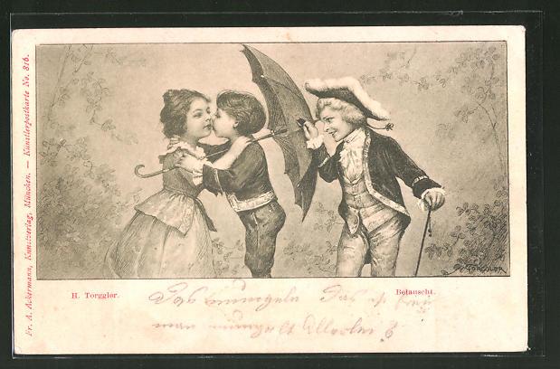 Künstler-AK Hermann Torggler: Kleiner Junge belauscht sich küssende Kinder