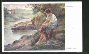 Künstler-AK Carl Zewy: Junge Frau sitzt am Flussufer