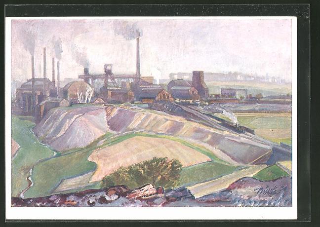 Künstler-AK Raffinerie der B.V.-ARAL