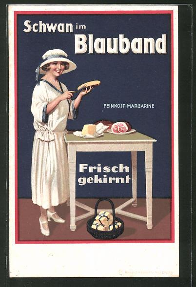 AK Reklame für Blauband Feinkost-Margarine