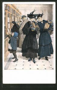 Künstler-AK Brynolf Wennerberg: Frauen bringen die Feldpost-Pakete zur Post