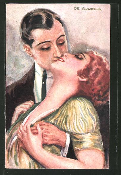 Künstler-AK de Godella: Sich liebendes Paar küsst sich