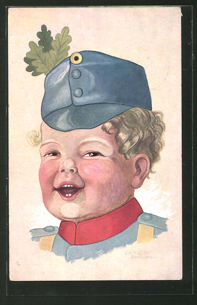 Künstler-AK Carl Diehl: Kleiner Soldat mit Eichenlaub an der Mütze