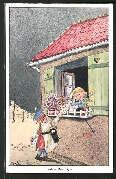 Künstler-AK Korle: Fräulein Briefträger bringt die Feldpost