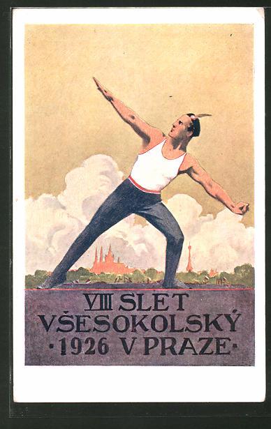 Künstler-AK Prag, VIII. Slet Vsesokolsky v Praze 1926, Sokol 1926