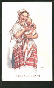 Künstler-AK M. Fischerova-Kvechova (MFK): Junge Mutter in Tracht mit ihrem Kind, Srdecne Prani