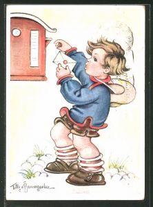 Künstler-AK Tilly von Baumgarten: Ein kleiner Junge wirft einen Brief in Briefkasten