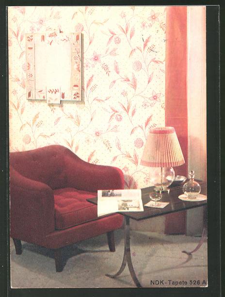 AK Wohnzimmer mit NDK-Tapete 526 A, Reklame