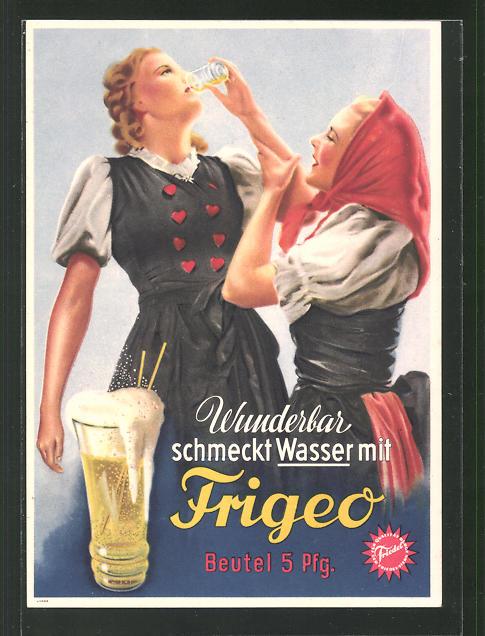 AK Zwei Frauen trinken Wasser mit Frigeo, Reklame