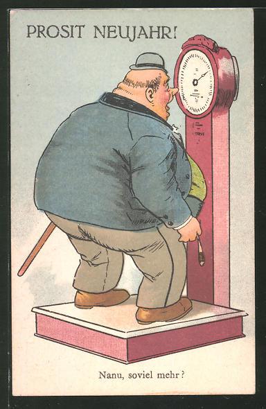 AK Übergewichtiger Mann auf der Waage, ist erstaunt über sein hohes Gewicht