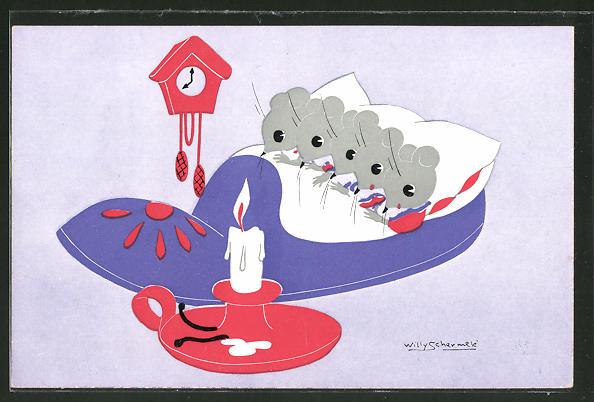 Künstler-AK Willy Schermele: Mäusekinder schlafen in Pantoffel