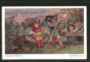 Künstler-AK Georg Mühlberg: Die sieben Schwaben, 3. Als die Dämmerung hereinbrach...