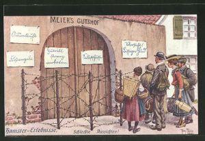 Künstler-AK Arthur Thiele: Hamster-Erlebnisse, Schlechte Aussichten!, Scherz