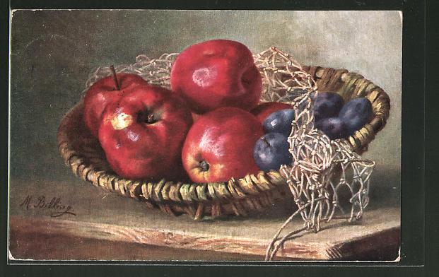 Künstler-AK M. Billing: Stilleben mit Äpfeln und Pflaumen