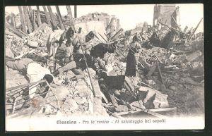 AK Messina, Fra le rovine, al salvataggio dei sepolti, Erdbeben