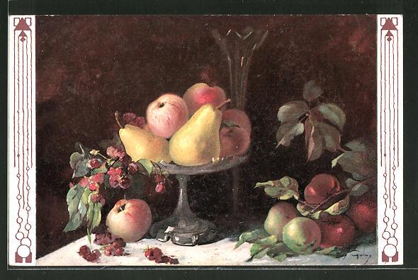 Künstler-AK Mary Golay: Stilleben mit Birnen und Äpfeln in einer Schale
