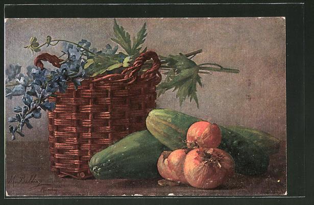 Künstler-AK M. Billing: Stilleben mit Gurke, Zwiebeln und Petersilie