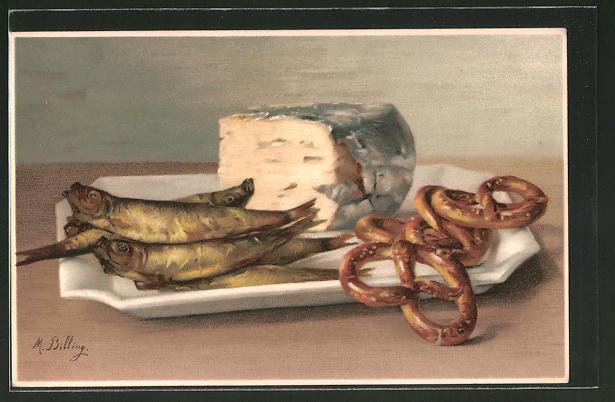 Künstler-AK M. Billing: Stilleben mit Räucherfisch und Brezeln