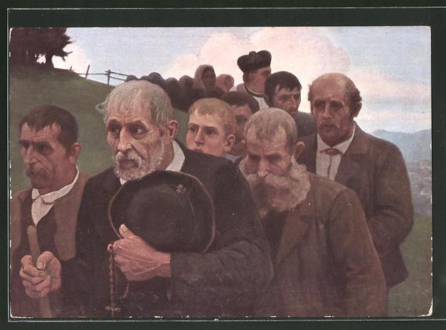 Künstler-AK Thomas Walch: Bittgang, Christen