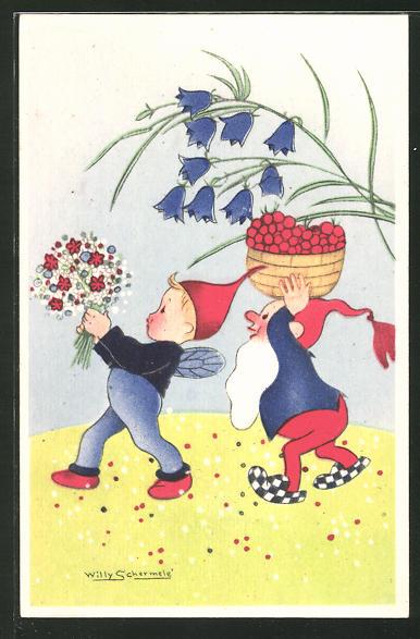 Künstler-AK Willy Schermele: Zwerg und Elf mit Beeren und Blumen