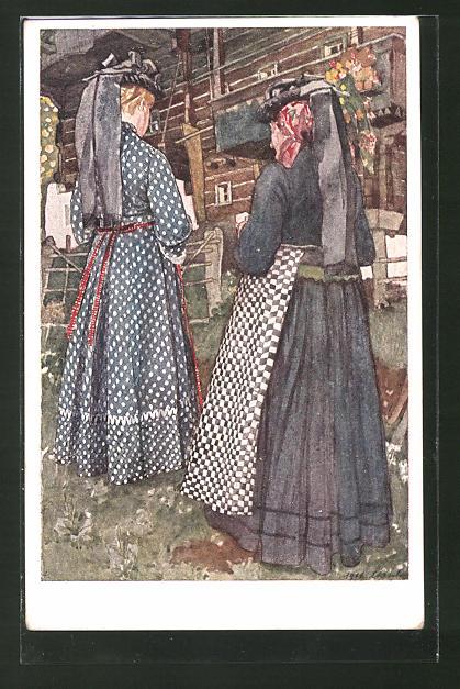Künstler-AK Leopold Resch: Kärntner Bäuerinnen aus der Gegend