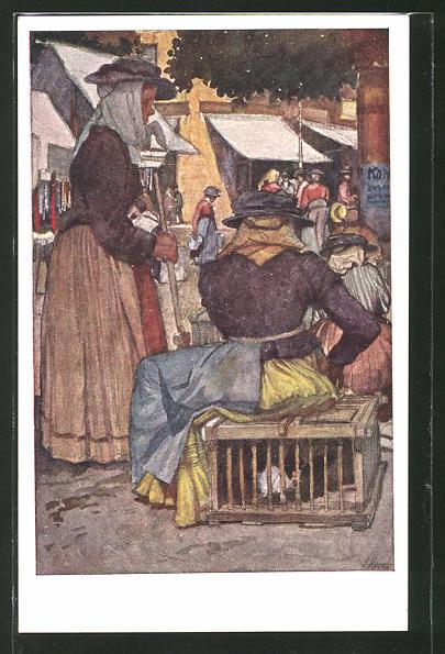 Künstler-AK Leopold Resch: Kärntner Frauen am Wochenmarkt