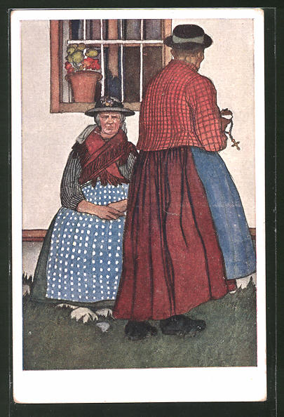 Künstler-AK Leopold Resch: Auszüglerinnen aus dem Lesachtale, Kärnten