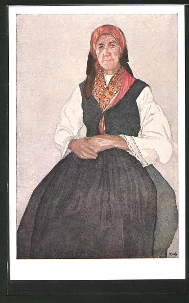 Künstler-AK Leopold Resch: Frau aus Fürnitz in Kärntner Tracht
