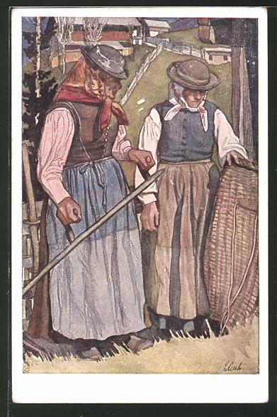 Künstler-AK Leopold Resch: Kärntner Mäderin (Mäherin)