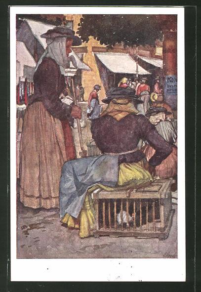 Künstler-AK Leopold Resch: Kärntner Frauen auf dem Wochenmarkt