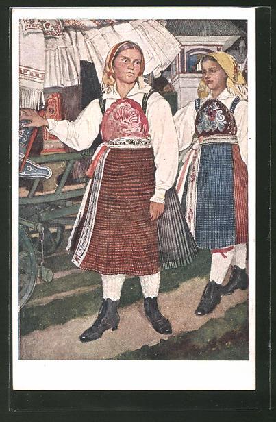 Künstler-AK Leopold Resch: Gailtaler Brautwagen, Kärnten