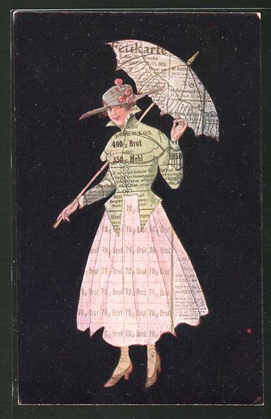 AK Frau trägt Kleid und Schirm aus Lebensmittelmarken, Kriegsnot