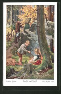 Künstler-AK Otto Kubel: Hänsel und Gretel Nr. 2: