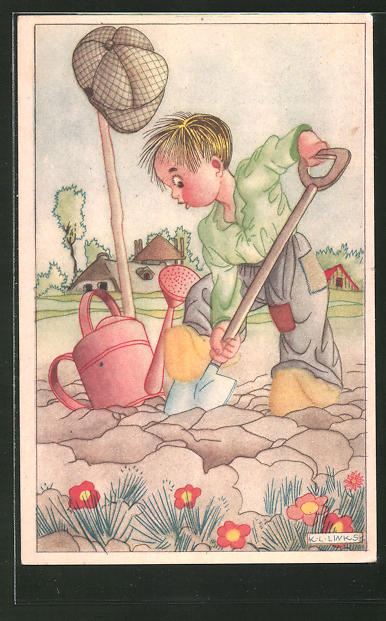 Künstler-AK Karel L. Links: Kleiner Gärtner mit Spaten und Giesskanne bei der Arbeit