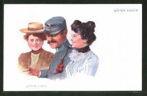 Lithographie Wiener Typen, Wiener Kinder, Soldat mit Fräuleins