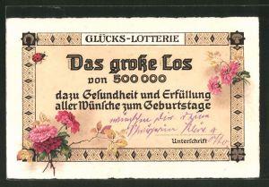 AK Das Grosse Los der Glücks-Lotterie, Blumen