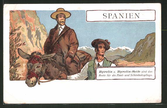 AK Spanien, Mann auf einem Pferd wird geführt, Medikament Byrolin / Byrolin-Seife