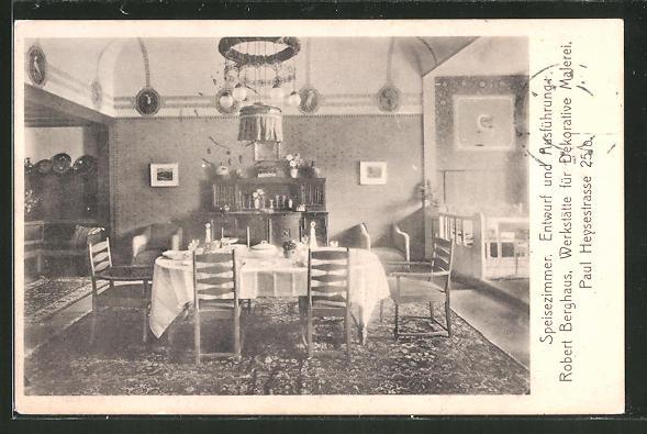 Ak München Ausstellung Bemalter Wohnräume 1910 Speisezimmer Von