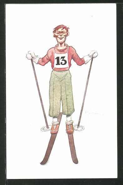 Künstler-AK Komischer Skiläufer mit Startnummer 13