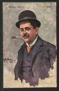Künstler-AK Wiener Fiaker mit Zigarre