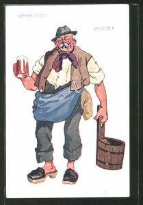 Künstler-AK Alter Wiener Wasserer mit Bierglas und Zuber