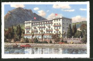 Künstler-AK Lugano, Grand Hotel Europe, Propr. J. Fassbind