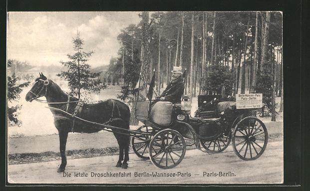AK Berlin-Wannsee, Letzte Droschkenfahrt Berlin-Wannsee-Paris