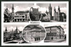 AK Klatovy, Ortspartie mit Kirche und Hotel Central