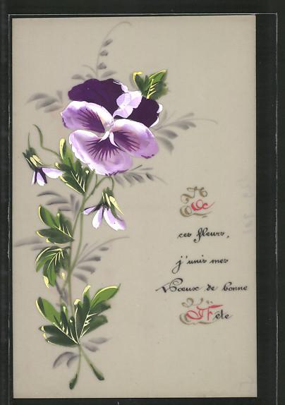 Zelluloid-AK lila Stiefmütterchen