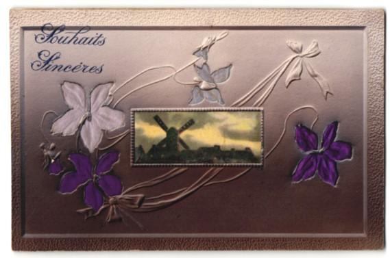 Stoff-Präge-AK Souhaits Sincéres, Windmühle und Blüten