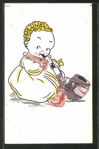 AK Briefmarkencollage, Kleinkind mit Pfeife aus Briefmarken