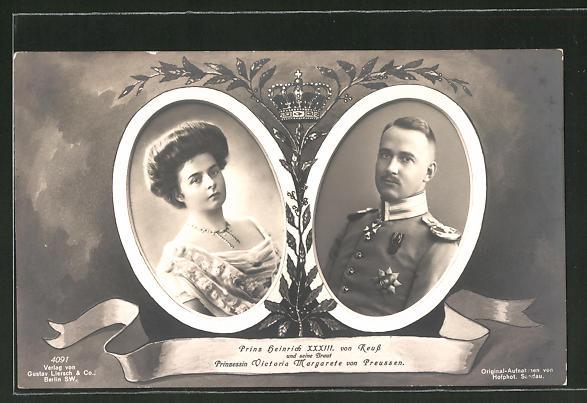 AK Prinz Heinrich XXXIII. von Reuss mit Braut Prinzessin Victoria Margarete von Preussen